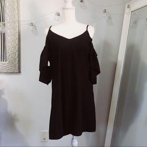 Boohoo Black Off The Shoulder Shift Dress Boho